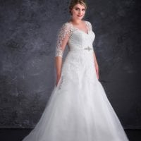 Miss Emily+ ME9229 a-line ball gown with sleeves and v-neck
