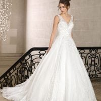 Très Chic SN9243 long a-line wedding dress with v-neck