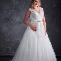 Miss Emily+ ME9247 long a-line ball gown with v-neck