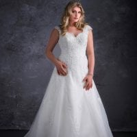 Miss Emily+ ME9249 long a-line ball gown with sleeves