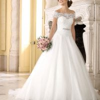 Très Chic SN9264 long a-line wedding dress off the shoulders