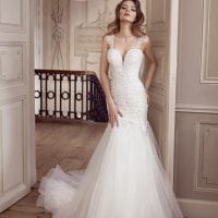 Elisabeth Grace EG9266 mermaid wedding dress with tulle