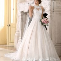 Très Chic TC9276 a-line ball gown with high neckline