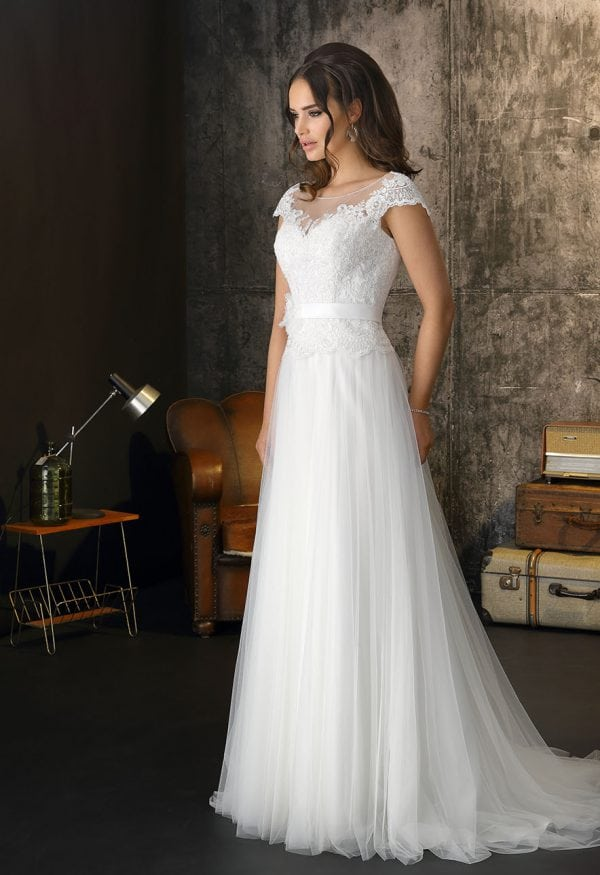 Brinkman BR92788 a-line wedding dress with sleeves