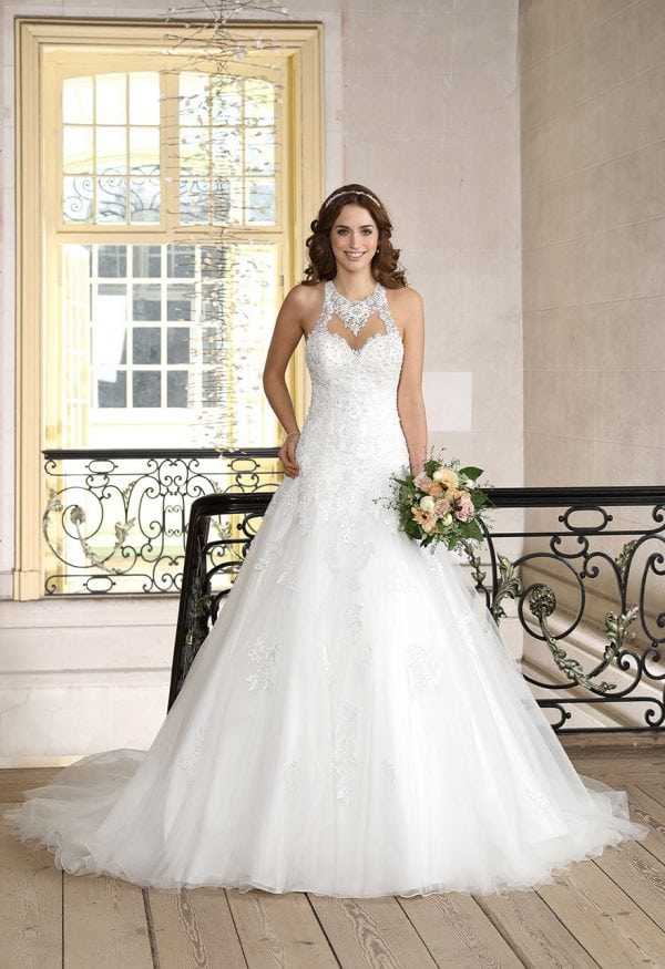 Très Chic TC9282 a-line ball gown with high neckline