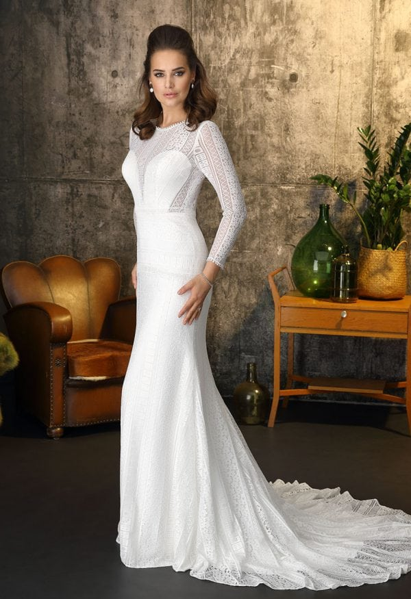 Brinkman BR9320 long wedding dress with sleeves boho chic