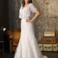 Brinkman BR9325 long wedding dress with sleeves