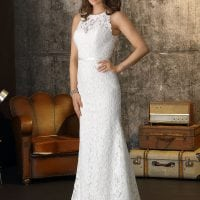 Brinkman BR9338 long wedding dress with high neckline