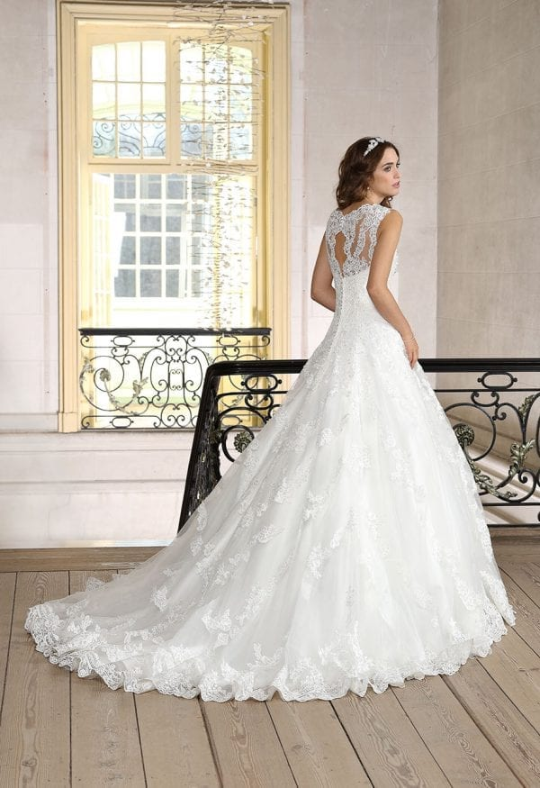 Très Chic TC9343 long a-line ball gown with tulle backside
