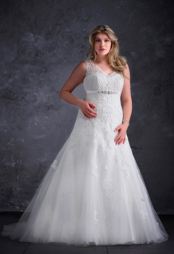 Miss Emily+ ME9345 a-line ball gown with v-neck