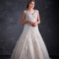 Miss Emily+ ME9346 long wedding dress with v-neck
