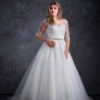 Miss Emily+ ME9362 a-line ball gown with sleeves