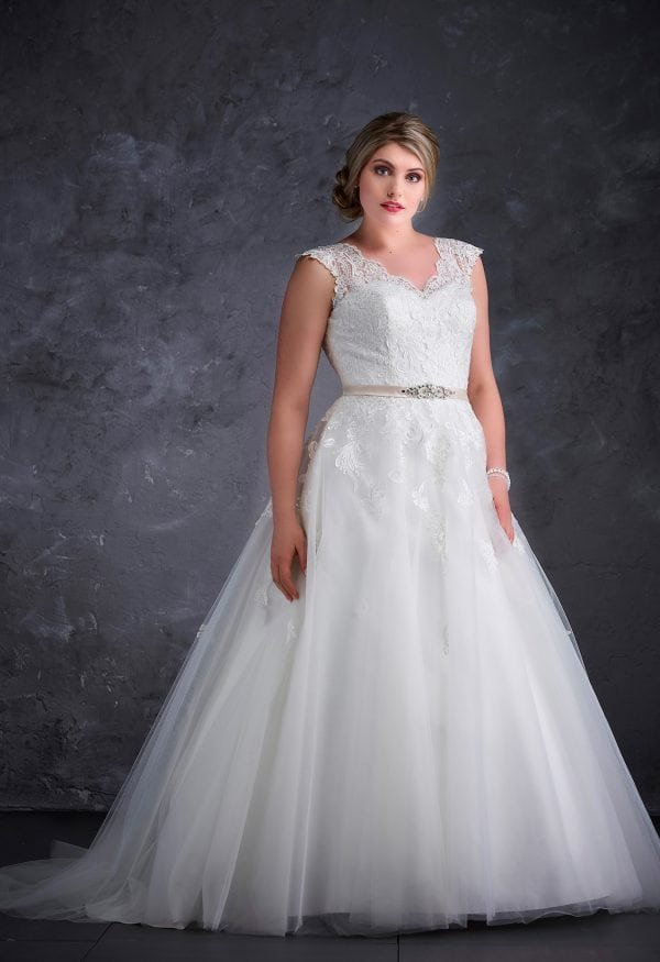Miss Emily+ ME9363 a-line ball gown with v-neck