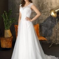 Brinkman BR9365 a-line wedding dress with boat neck