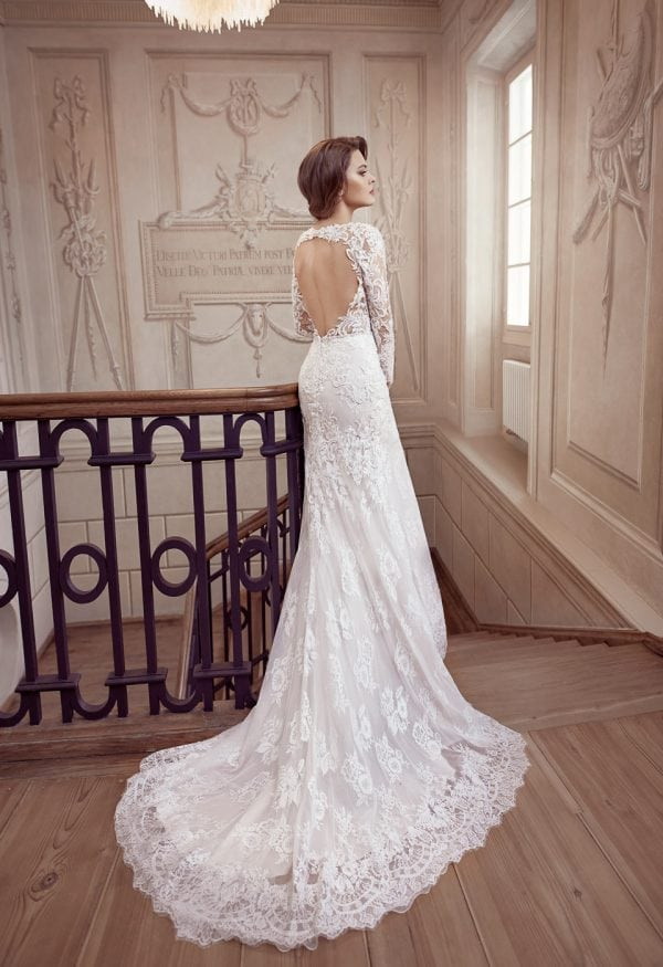 Elisabeth Grace EG9369 long wedding dress with sleeves backside