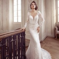 Elisabeth Grace EG9369 long wedding dress with sleeves
