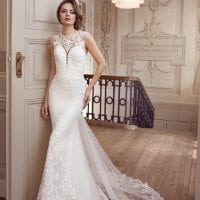 Elisabeth Grace EG9373 mermaid wedding dress with high neckline