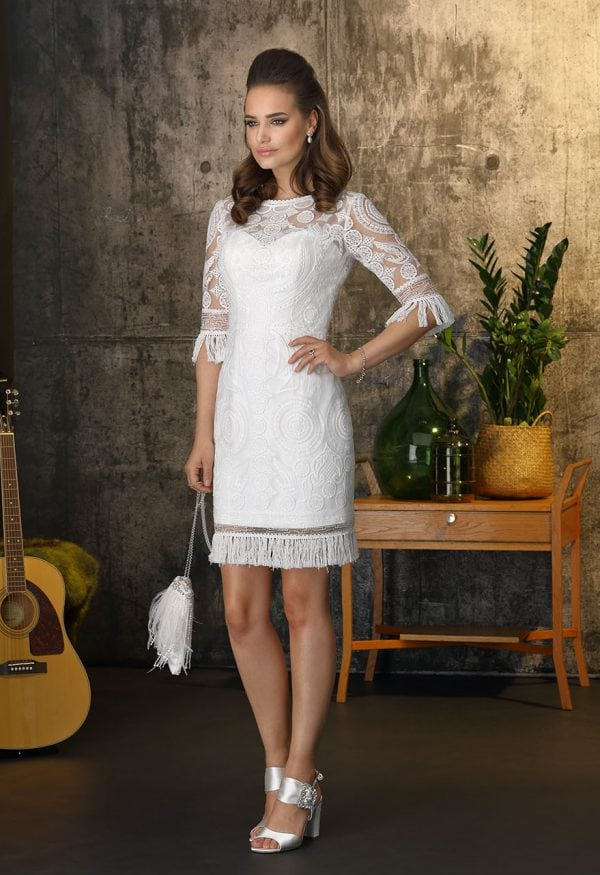 Brinkman BR9376 short a-line wedding dress with sleeves
