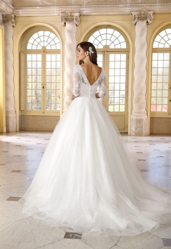 Très Chic TC9377 a-line ball gown with sleeves backside