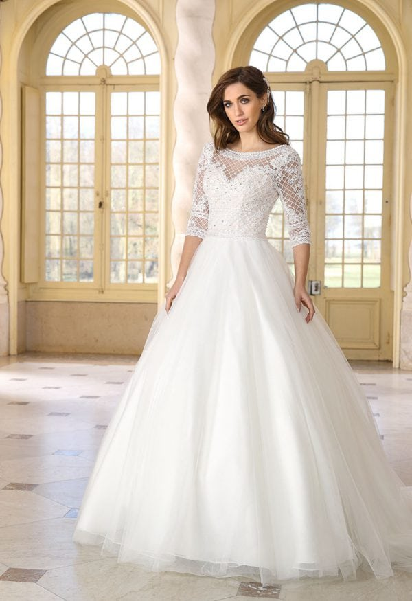 Très Chic TC9377 a-line ball gown with sleeves