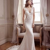 Elisabeth Grace EG9378 long wedding dress with v-neck