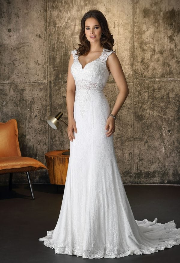 Brinkman BR9389 long wedding dress with v-neck boho chic