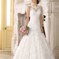 Très Chic TC9395 A-line ball gown with high neckline