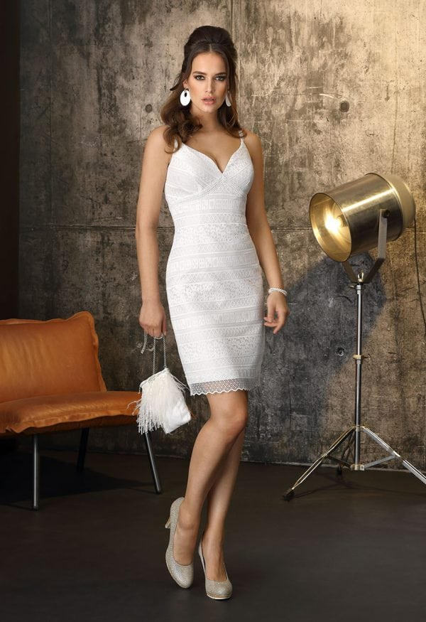 Brinkman BR9400 short a-line wedding dress with v-neck