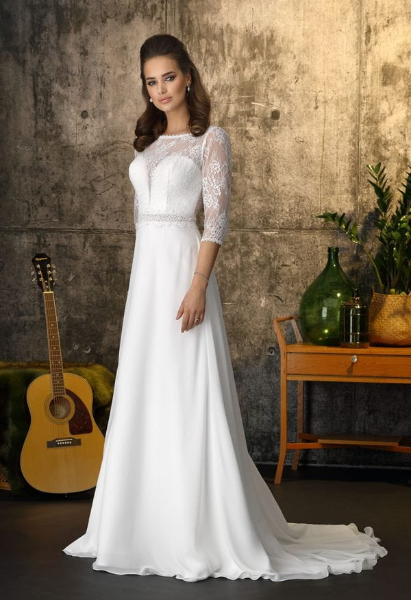 Brinkman BR9401 long a-line wedding dress with sleeves boho chic