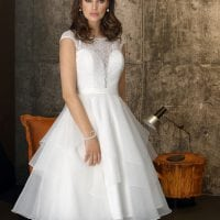 Brinkman BR9402 short a-line wedding dress with sleeves