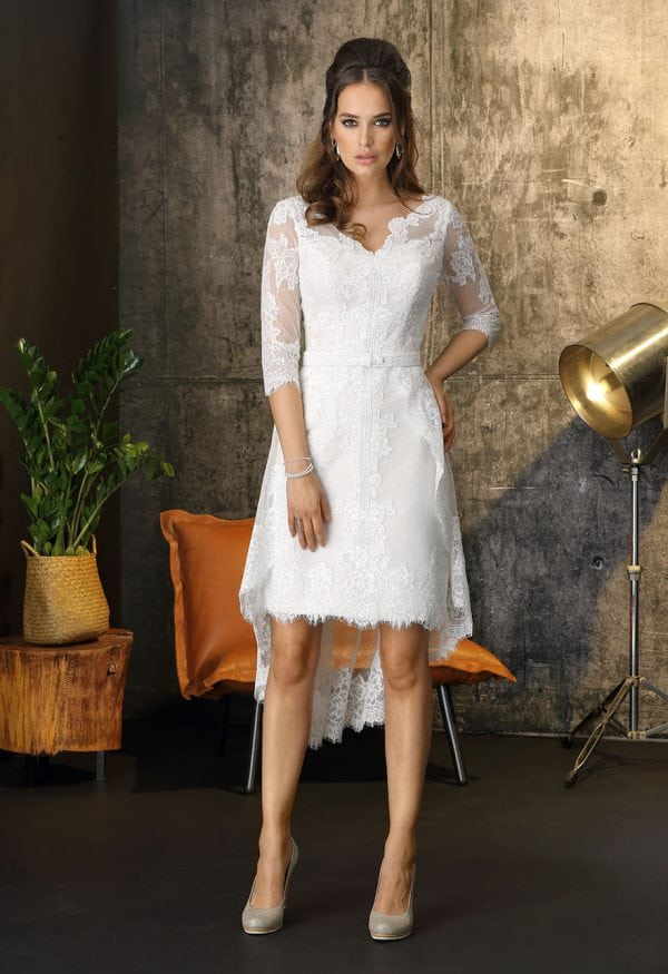 Brinkman BR9404 short a-line wedding dress with v-neck