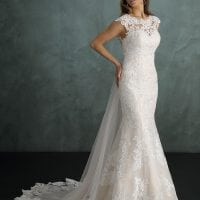 Pure PU9405 mermaid wedding dress with high neckline