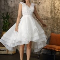 Brinkman BR9407 short a-line wedding dress with v-neck