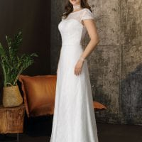 Brinkman BR9471 long wedding dress with sleeves boho chic