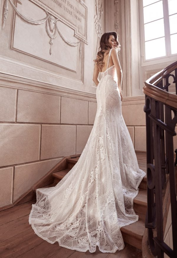Elisabeth Grace EG9422 long wedding dress with v-neck backside