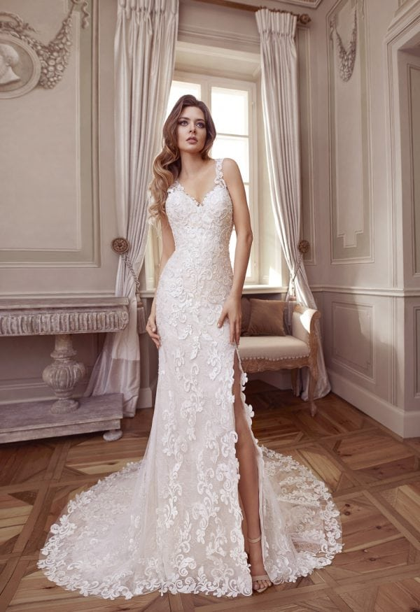 Elisabeth Grace EG9423 long wedding dress with v-neck