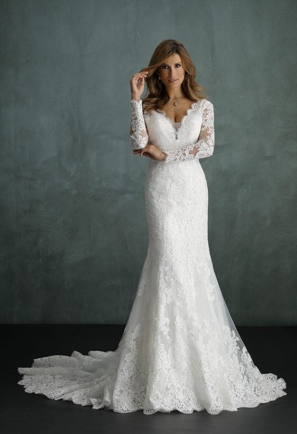 Pure PU9431 long mermaid wedding dress with v-neck and sleeves