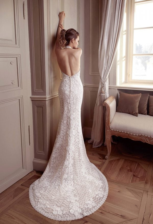 Elisabeth Grace EG9441 long wedding dress with v-neck backside