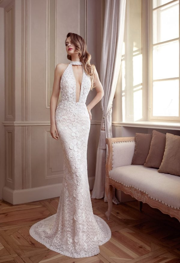 Elisabeth Grace EG9441 long wedding dress with v-neck