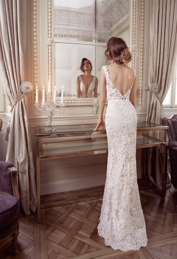 Elisabeth Grace EG9443 a line wedding dress backside