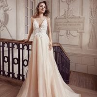 Elisabeth Grace EG9447 wedding dress a line with golden glitter and tule