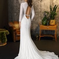 Brinkman BR9320 long wedding dress with sleeves boho chic backside