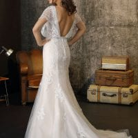 Brinkman BR9325 long wedding dress with sleeves backside