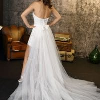 Brinkman BR9384 short a-line beach wedding dress backside