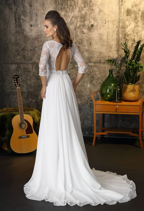 Brinkman BR9401 long a-line wedding dress with sleeves open back