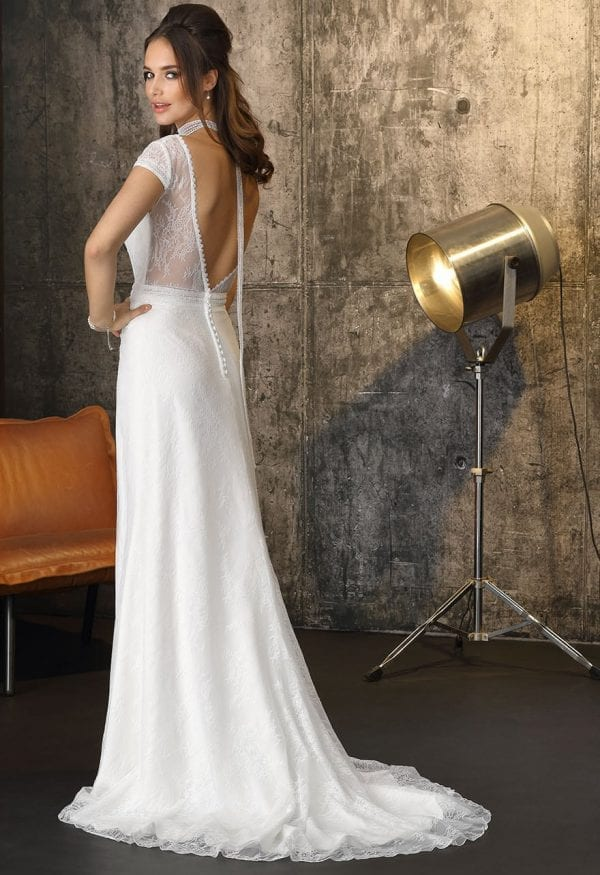 Brinkman BR9471 long wedding dress with sleeves boho chic backside