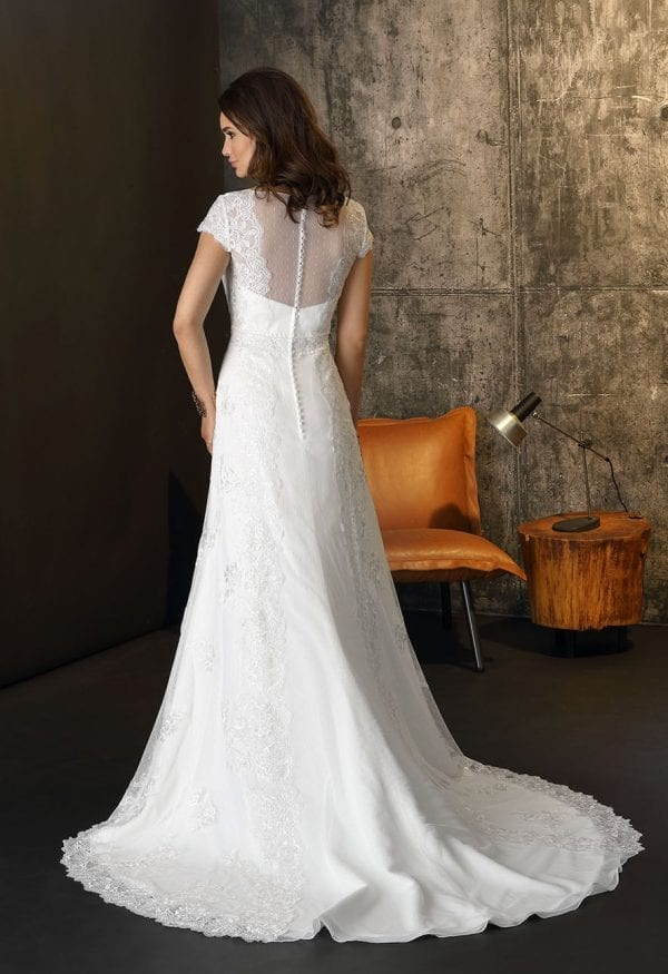 Brinkman BR9419 long wedding dress with sleeves boho chic backside