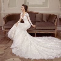 Elisabeth Grace EG9410 mermaid wedding dress with v-neck sfeerfoto