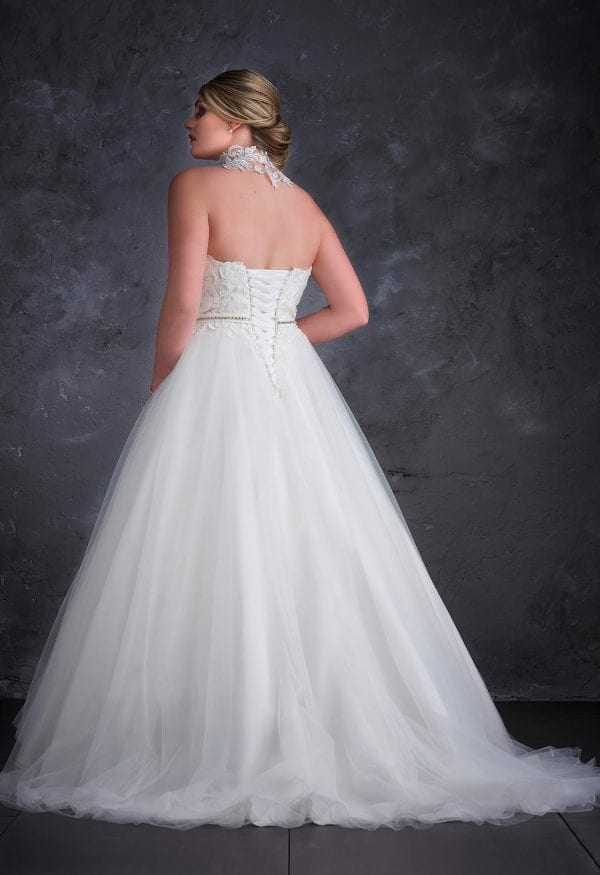 Miss Emily+ ME9248 long a-line ball gown with tulle backside