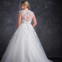 Miss Emily+ ME9363 a-line ball gown with beautiful backside
